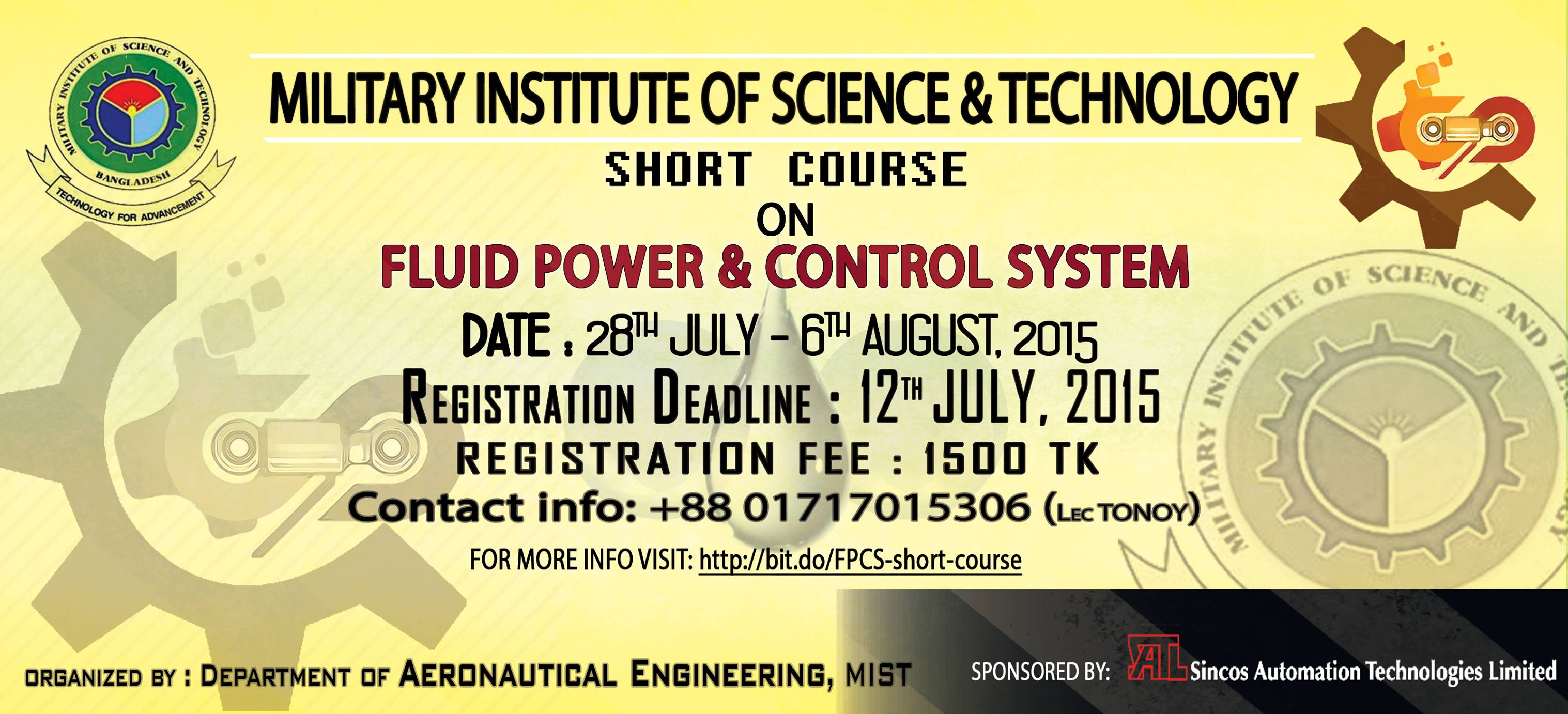 "SHORT COURSE ON ""FLUID POWER & CONTROL SYSTEM"""