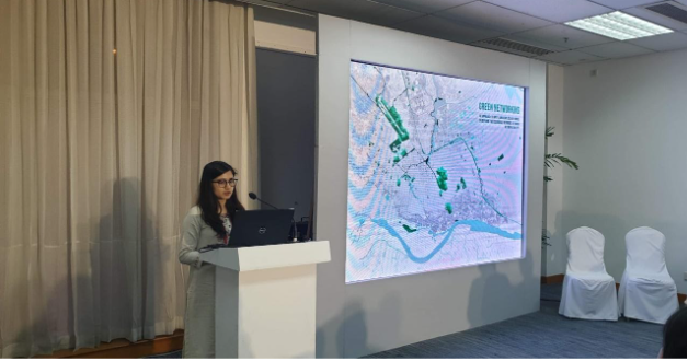 "Lecturer Manjima Shabnam presented a paper titled ""Green Networking: An approach to apply landscape ecology model in reviving the ecological networks of Dhaka Metropolitan city"""