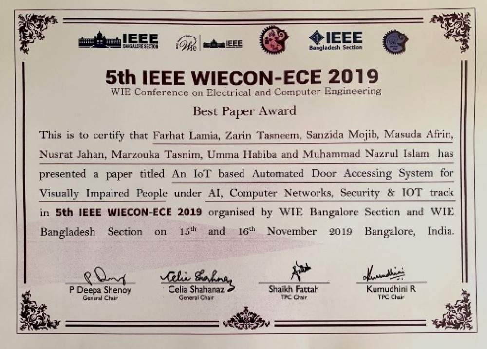 BEST PAPER AWARD IN WIE CONFERENCE